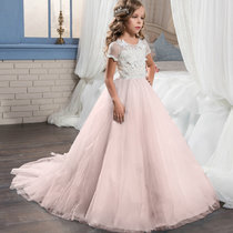 Kid Girl 3D Butterfly Flowers Cut-Out Embroidered Mesh Maxi Trailing Wedding Party Dress