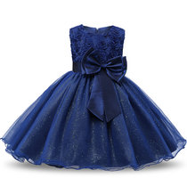 Kid Girl 3D Rose Flowers Lace Bowknot Bright Spot Gown Dress
