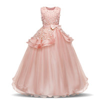 Kid Girl 3D Flowers Bowknot Lace Mesh Princess Sleeveless Dress