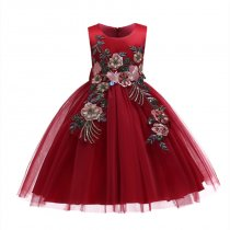 Kid Girl Red 3D Embroideried Sequins Flowers Wedding Party Dresses