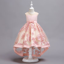 Kid Girl Embroidered 3D Flowers Mesh Wedding Party Dress With Bowknot