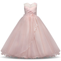 Kid Girl 3D Flowers Bowknot Lace Mesh Sleeveless Maxi Princess Dress