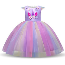 Kid Girl 3D Pearls Flowers Unicon Rainbow Tutu Princess Dress