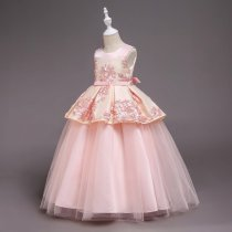 Kid Girl Embroidered 3D Flowers Patchwork Mesh Wedding Party Dress With Bowknot