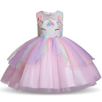 Kid Girl 3D Pearls Flowers Unicon Rainbow Mesh Layers Lace Princess Dress