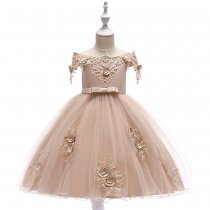 Kid Girl Pearls Embroidery 3D Flowers  Off The Shoulder Party Dress