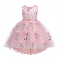 Kid Girl Pearls Embroidery 3D Sequins Flowers Mesh Party Dresses