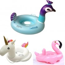 Toddler Kids Pool Floats Inflated Swimming Rings Flamingos Unicorn Peacock Sitting Swimming Circle With Armrest