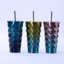 Insulated Stainless Steel Tumbler Straw Cup Ombre Water Ripple Vacuum Water Bottles