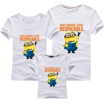 Matching Family Prints Yellow Minions Slogan T-shirts