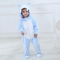 Baby Blue Hippo Onesie Kigurumi Pajamas Kids Animal Costumes for Unisex Baby