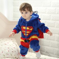 Baby Blue Super Man Onesie Kigurumi Pajamas With Cloak Kids Animal Costumes for Unisex Baby