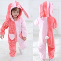 Baby Pink Rabbit Onesie Kigurumi Pajamas Kids Animal Costumes for Unisex Baby