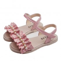 Kid Girl Ruffles Pleated With Pearls Beading Beach Open-Toed Velcro Sandals