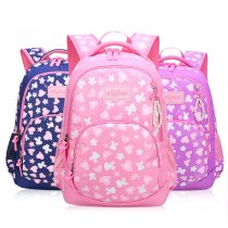 Primary School Backpack Bag Girl Hearts Flowers Lightweight Waterproof Bookbag