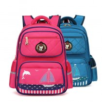 Primary School Backpack Bag Dolphin Sailboat Lightweight Waterproof Bookbag