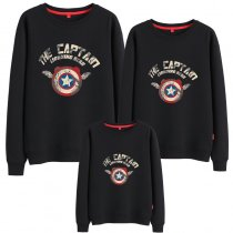 Matching Family Prints Captain America Famliy Sweatshirts Top