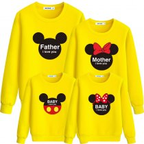 Matching Family Prints Slogan Love Mickey Famliy Sweatshirts Top