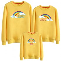 Matching Family Prints Slogan Rainbow Happy Sweatshirts Top