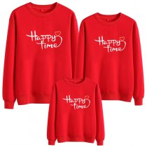 Matching Family Prints Slogan Happy Time Famliy Sweatshirts Top