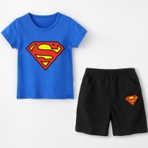 Boy Print Super Hero Cotton T-shirt and Shorts Two-piece