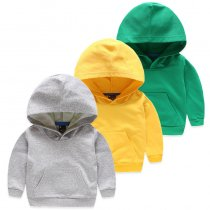 Toddlers Pure Color Cotton Hooded Sweatshirts For Kids