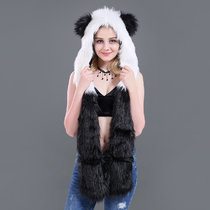 Panda Faux Fur Winer Warm Hoods Hat Scarf Gloves with Paws Ears 3-in-1