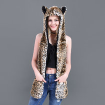 Leopard Faux Fur Winer Warm Hoods Hat Scarf Gloves with Paws Ears 3-in-1