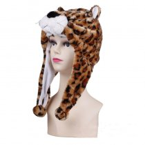 Brown Leopard Warm Crozy Soft Plush Hat Winer Ear Flap Beanie For Kids