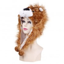 Brown Lion Warm Crozy Soft Plush Hat Winer Ear Flap Beanie For Kids