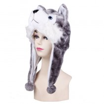 Grey Huskie Warm Crozy Soft Plush Hat Winer Ear Flap Beanie For Kids