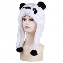 Black and White Panda Warm Crozy Soft Plush Hat Winer Ear Flap Beanie For Kids