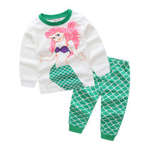 Kids Mermaid Princess Pajamas Sleepwear Set Long-sleeve Cotton Pjs