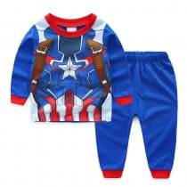 Kids Blue Captain America Pajamas Sleepwear Set Long-sleeve Cotton Pjs