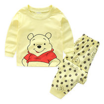 Kids Yellow Winnie the Pooh Pajamas Sleepwear Set Long-sleeve Cotton Pjs