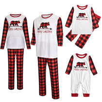 Christmas Family Matching Sleepwear Pajamas Sets White Merry Christmas Bear Top and Red Plaid Pants