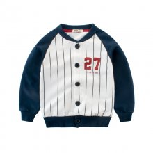 Boy Baseball Jacket Stripes Color Catching Green Coat
