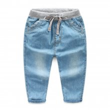 1900d7d6 Toddler Boys Elastic Mid Waist Washed Denim Full Length Straight Jeans Pants