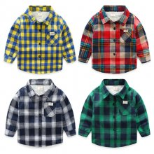 Toddler Boys Multicolor Thicken Wool Fleece Cotton Plaid Shirt