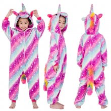 Kids 3 Color Stars Stripes Unicorn Onesie Kigurumi Pajamas Kids Animal Costumes for Unisex Children