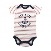 Baby Boy Red Stripes Print Slogan Short Sleeve Cotton Bodysuit