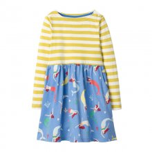 Toddler Girl Print Mermaid Stripes Long Sleeves Casual A-line Dresses