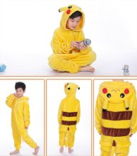 Kids Pokemon Pikachu Onesie Kigurumi Pajamas Kids Animal Costumes for Unisex Children