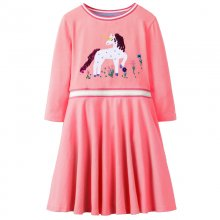 Toddler Girl Pink Print Horse Sequin Long Sleeves Casual A-line Dresses