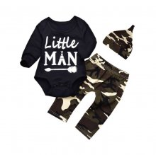 3PCS Baby Boy Black Print Slogan Long Sleeve Romper Print Pants Bodysuit Hat Clothes Outfits Set