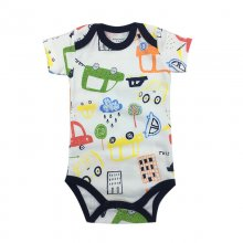 Baby Boy Print City Short Sleeve Cotton Bodysuit