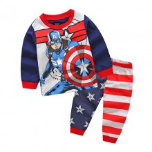 Toddler Boy 2 Pieces Pajamas Sleepwear Captain America Long Sleeve Shirt & Legging Sets