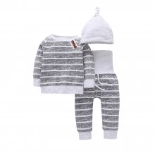 3PCS Baby Boy Grey Stripes Long Sleeve Romper Print Pants Bodysuit Hat Clothes Outfits Set