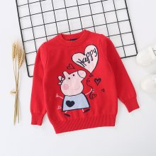 Toddler Girl Knit Pullover Sweater Peppa Pig Pattern