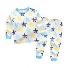 Toddler Boy 2 Pieces Pajamas Sleepwear Blue Stars Long Sleeve Shirt & Legging Sets